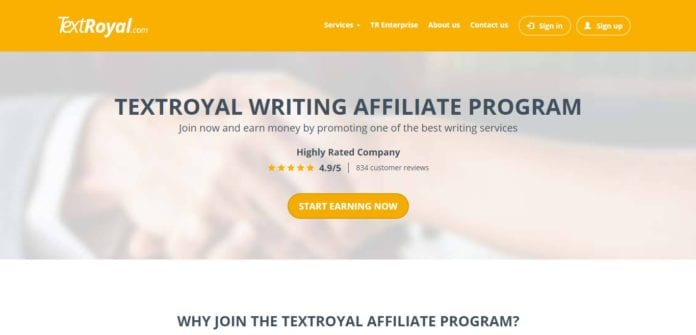 Textroyal.com Affiliate Program Review : Earn 10% Recurring Commission on Each Sale